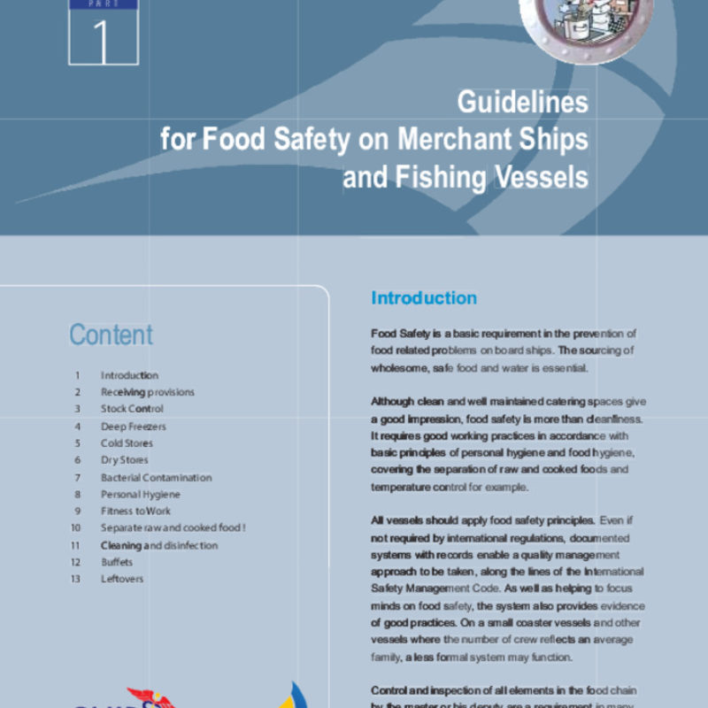Guidelines For Food Safety On Merchant Ships And Fishing