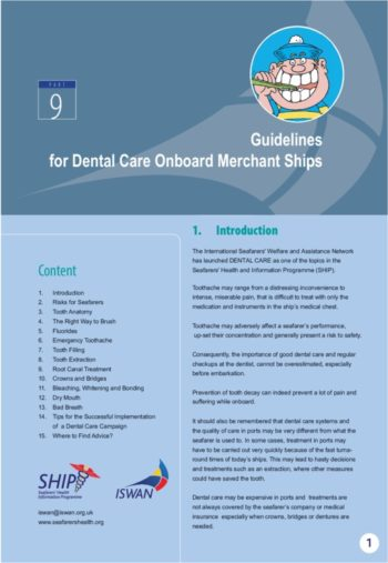 Guidelines For Dental Care Onboard Merchant Ships