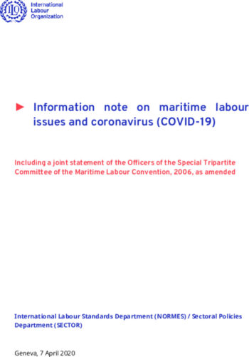 ILO Information note on maritime labour issues and coronavirus COVID 19