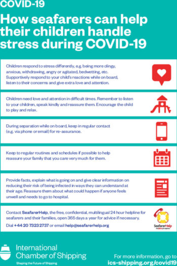 Poster How seafarers can help their children handle stress during COVID 19