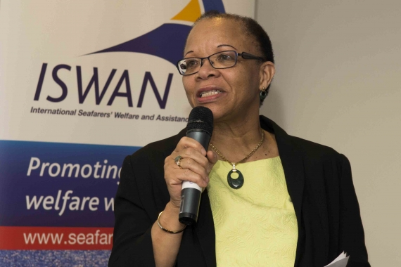 Cleo Doumbia-Henry speaking at the launch of ISWAN