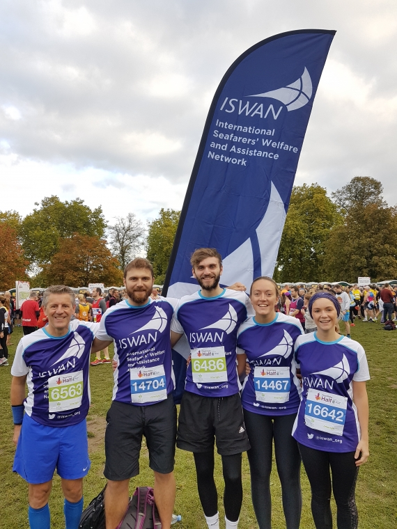 Five members of the ISWAN team at the 2017 Royal Parks Half Marathon