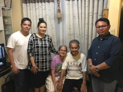 Jessirine Mance (2nd from left) with her brother, parents and Jun Pablo of ISWAN (far right) – taken on a visit after her protocol procedure